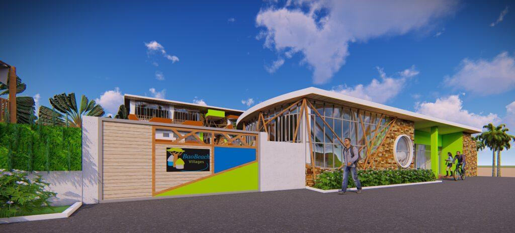 Eco-Lodges in Afrika: das erste Design. Hier die Ansicht von vorne.